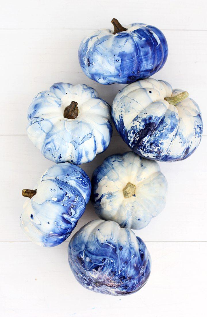 Marbled Indigo Pumpkins | Decorating With Pumpkins