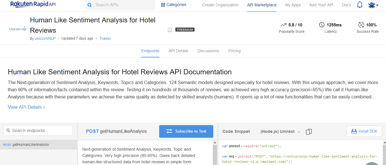 Human Like Sentiment Analysis for Hotel Reviews API