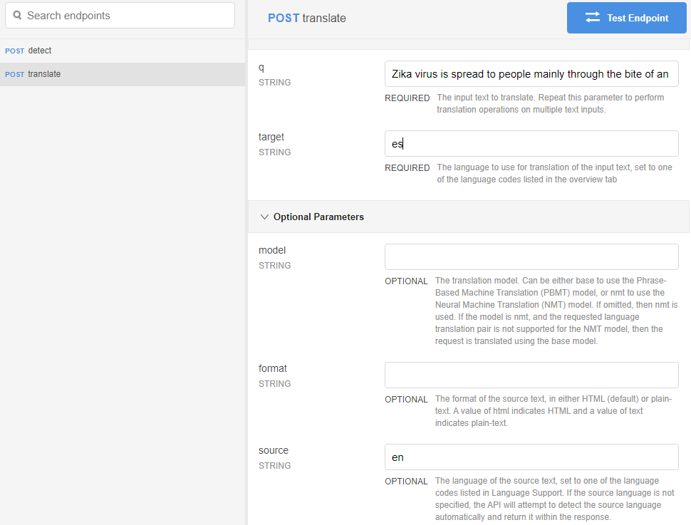 GT Endpoint Translate Request ES