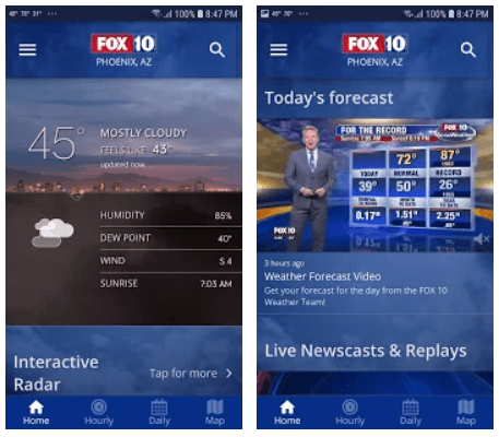News Apps with Weather display
