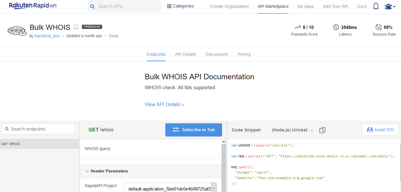 Bulk WHOIS API Documentation WHOIS check. All tlds supported.