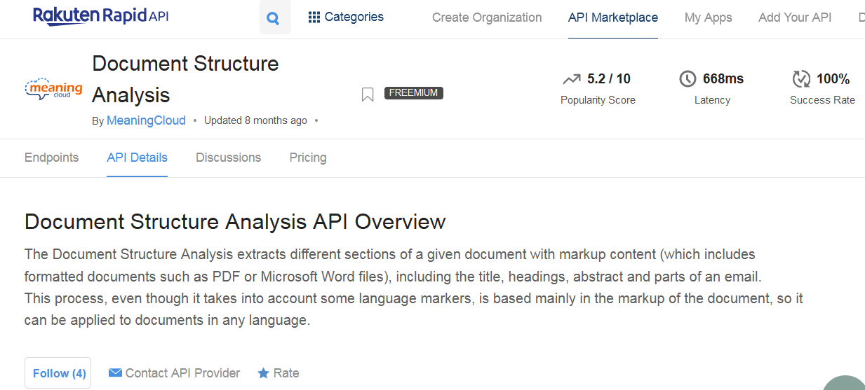 Document Structure Analysis API Overview