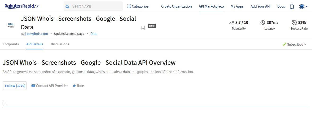 JSON Whois - Screenshots - Google - Social Data API Documentation