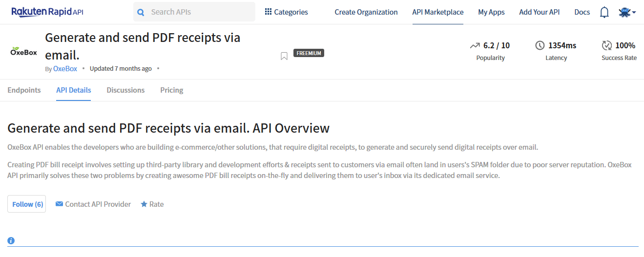 Generate and send PDF receipts via email. API Documentation