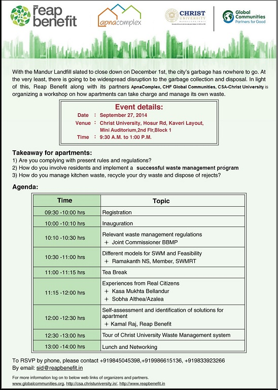 Invite for Waste Management Workshop Apnacomplex Facebook