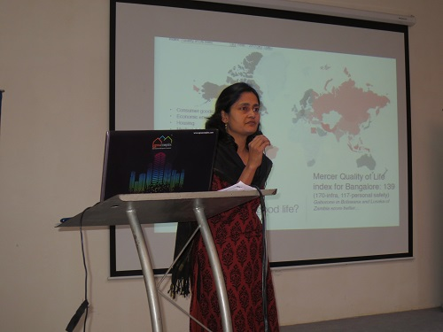 "Meera K, co-founder of Citizen Matters talking on ""Apartment Social Responsibility"""