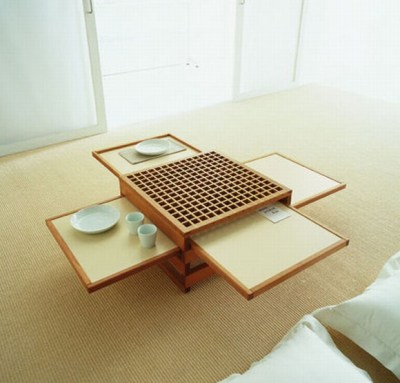 A convertible space-saving coffee table.