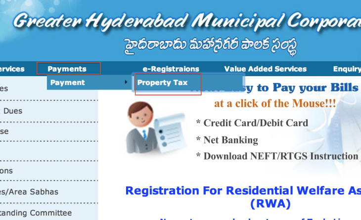 Pay Ppty Tax on GHMC site