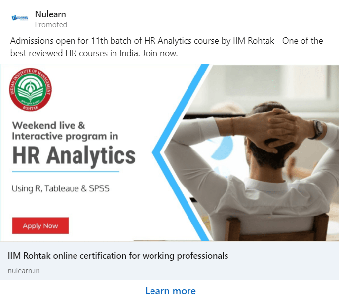 LinkedIn ad example from Nulearn