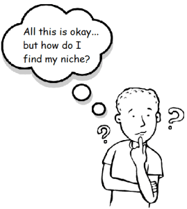 Clipart showing a character thinking about how to find his niche