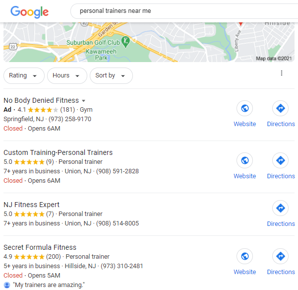 Google search results for personal trainers near me