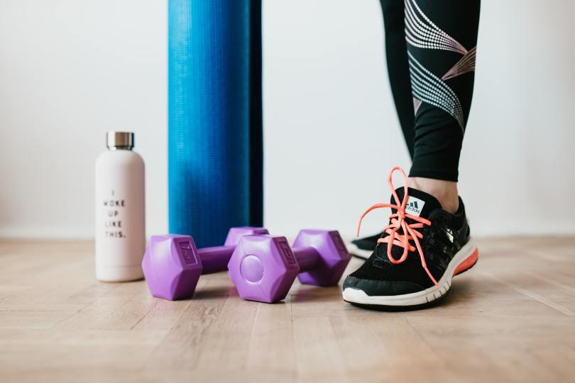 Gym equipment on the floor