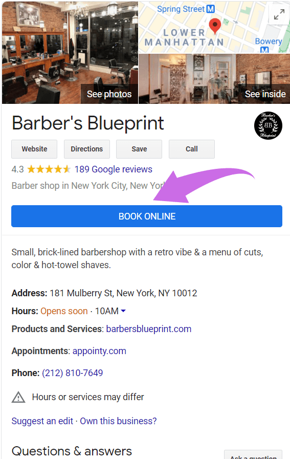 Example of Book Now button on Google My Business