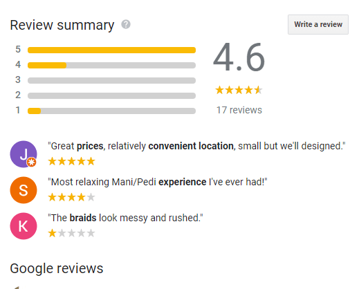 Google My Business listing showing review summary