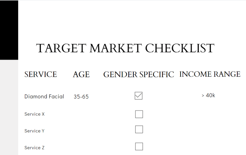 Target market checklist with service, age, gender, and income range