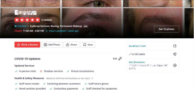 Yelp profile of a salon