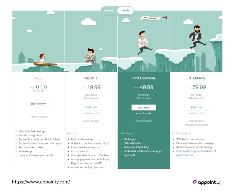 Appointy pricing page