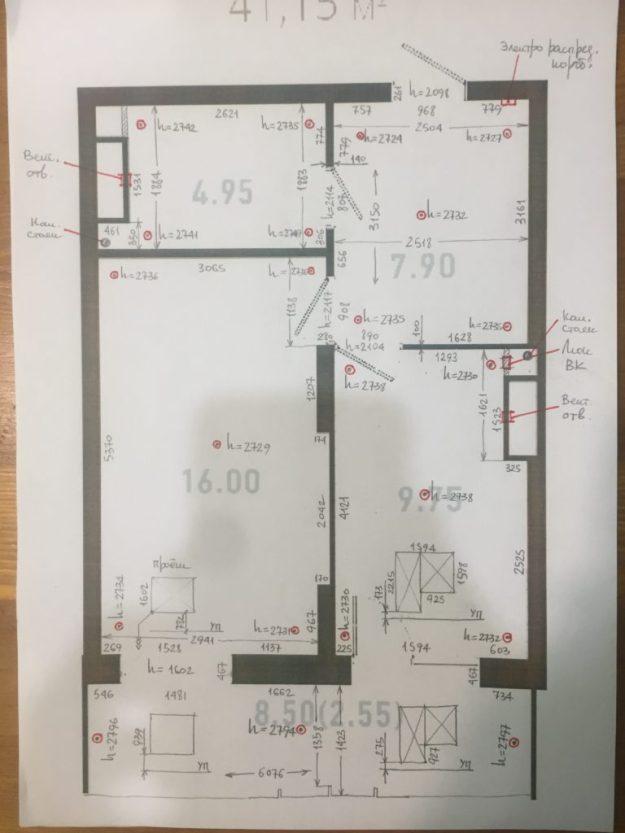 Обмерочный план студии Султанова