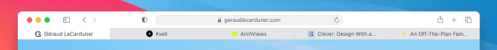Screenshot of tabs from the Big Sur Safari preview page