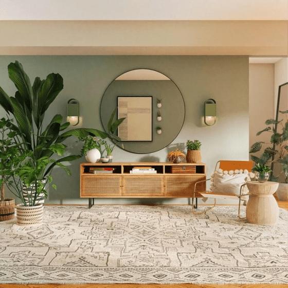 salon couleurs et matériaux naturels