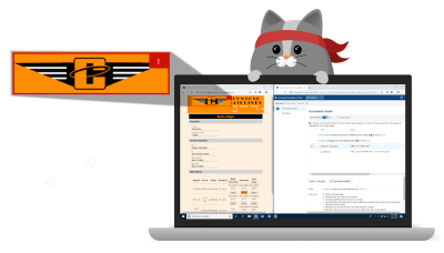Cartoon cat et un ordinateur portable exécute l'extension Accessibility Insights