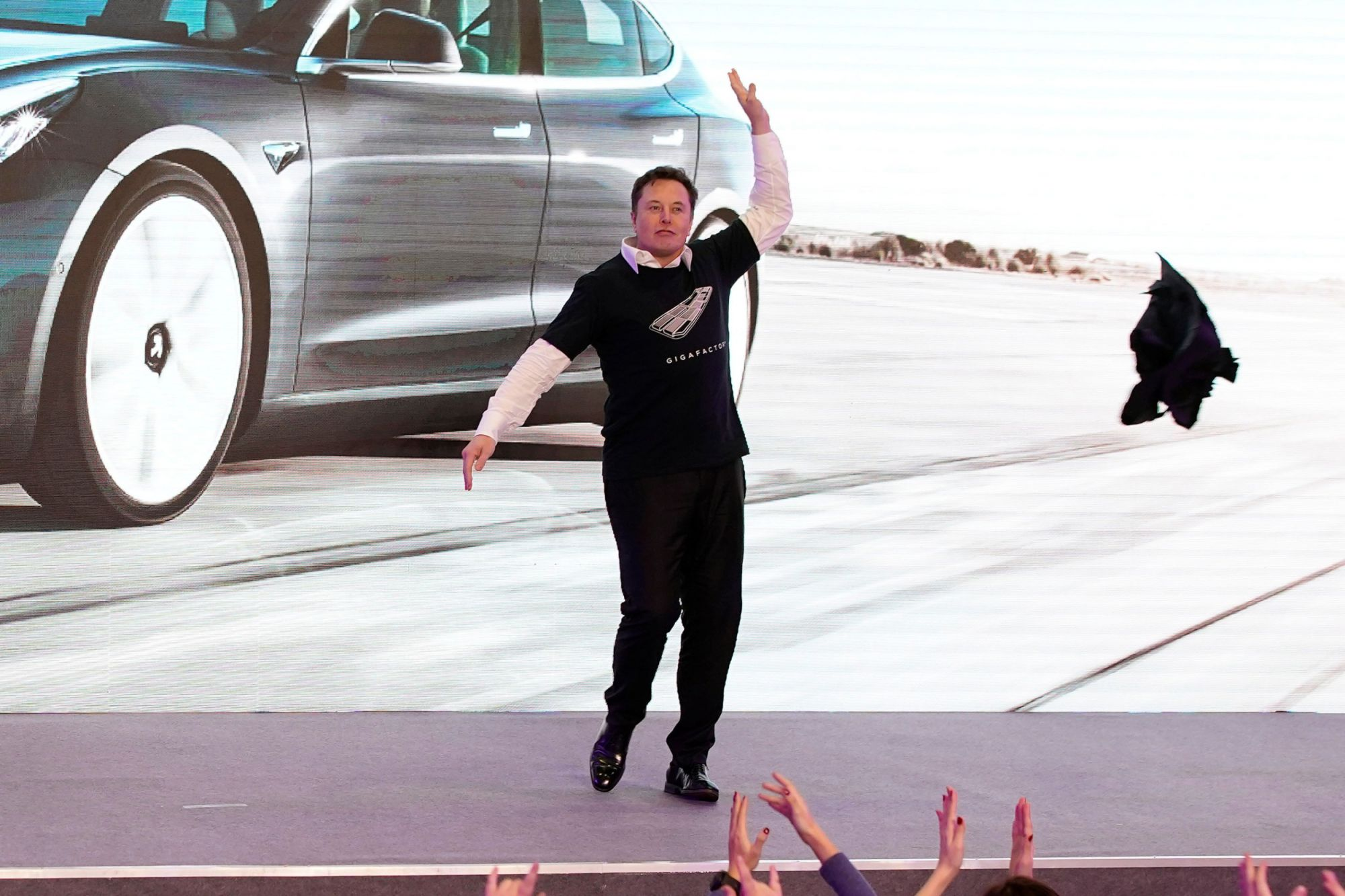 Elon Musk Did a Dad-Dance Striptease at Tesla's New Factory