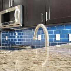 Blue Tile Backsplash Kitchen How To Make A Cabinet Install Glass Armchair Builder