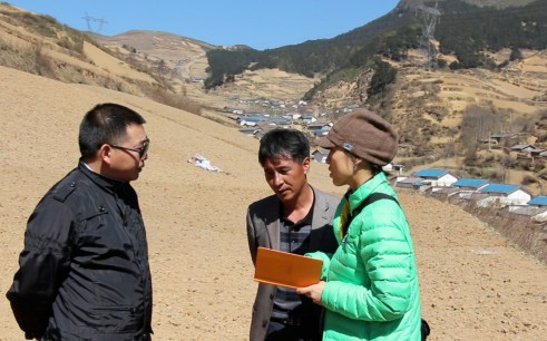 Wei interviewing buckwheat farmers in China in April, 2013