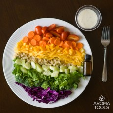 Rainbow Salad with Creamy Lemon Basil Dressing