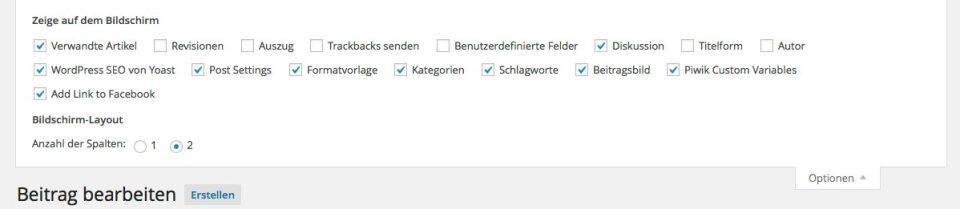 WordPress Spam Optionen