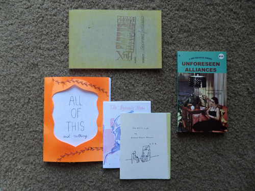Three zines by L.A.-based artist Esther Pearl Watson, left, along with Fluxus notes and a conceptual pulp romance novel from Sara Ranchouse Publishing