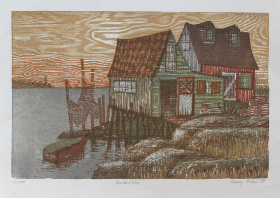 Harbor Eve (woodcut print) by Penny Feder