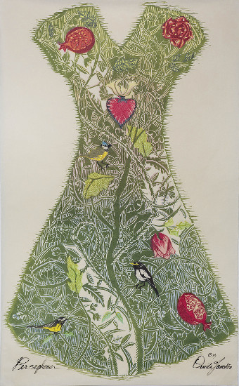 Persephone (woodcut print) by Ouida Touchon