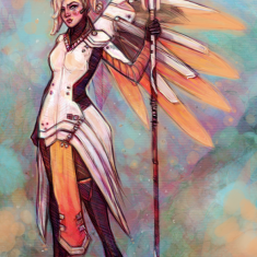 Mercy-Overwatch Fanart by bialykots