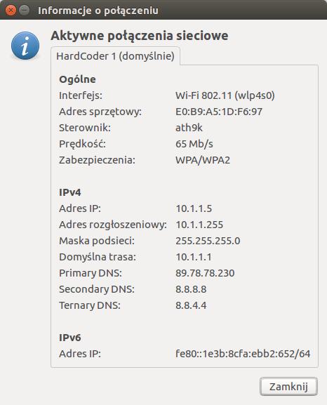 Sprawdzanie adresu ip w Linux/Ubuntu