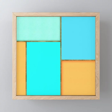 Light Blue, Orange And Gold Abstract Art Framed Mini Art Print