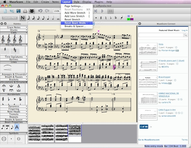 Musescore, software penulis not balok