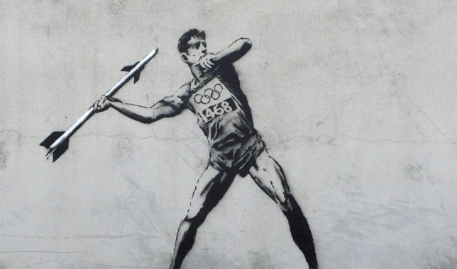 Banksy Olympic Javelin, Street Art