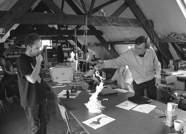 Wim Delvoye dans son atelier à Gand en 2012