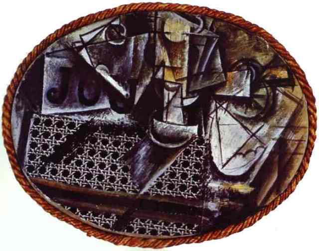 Picasso nature morte chaise cannée