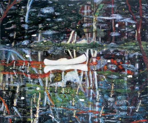 Peter Doig, White Canoe,huile sur toile
