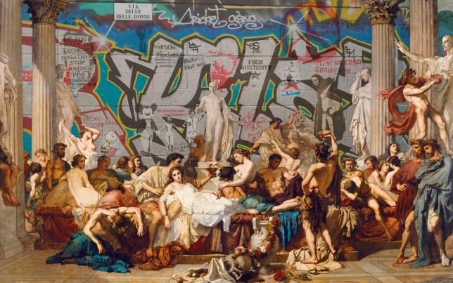 Marco Bottiglioni revisits, Les Romains de la décadence, Thomas couture, 1847