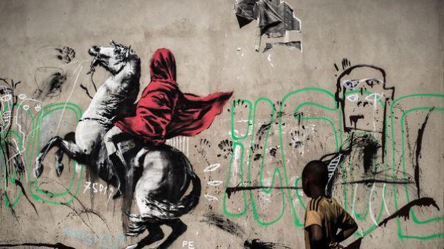 Banksy, Pochoir d'un cavalier, rues de Paris, 2018, Street Artiste