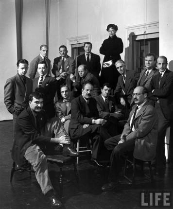 The Irascibles protest their exclusion from a New York exhibition in 1950. Back row: Willem de Kooning, Adolph Gottlieb, Ad Reinhardt, and Hedda Sterne; middle row: Richard Pousette-Dart, William Baziotes, Jackson Pollock, Clyfford Still, Robert Motherwell, and Bradley Walker Tomlin; front row: Theodoros Stamos, Jimmy Ernst, Barnett Newman, James Brooks, and Mark Rothko. Photographed by Nina Leen, © Getty Image