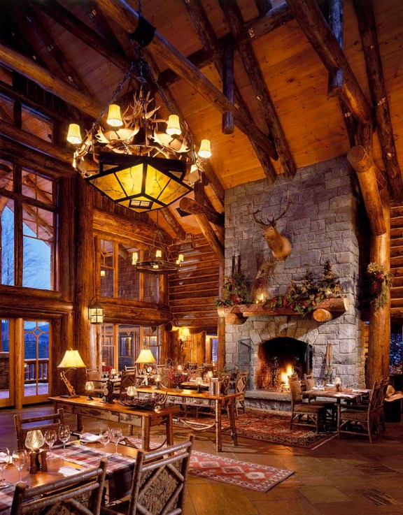 The Whiteface Lodge wooden style hotel / resort interior