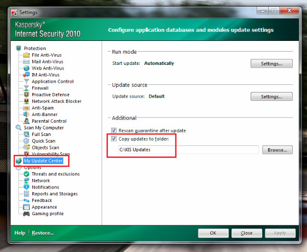 Kaspersky 2009 not updating