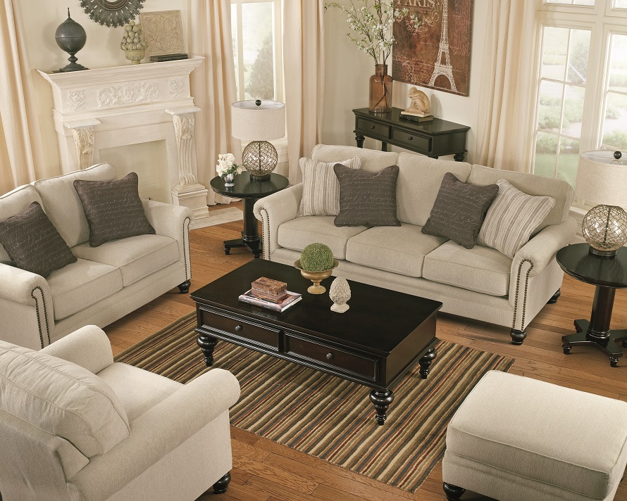 living room with loveseat and chairs red black curtains furniture layout guide plan ideas ashley casual set nailhead trim sofa upholstered accent