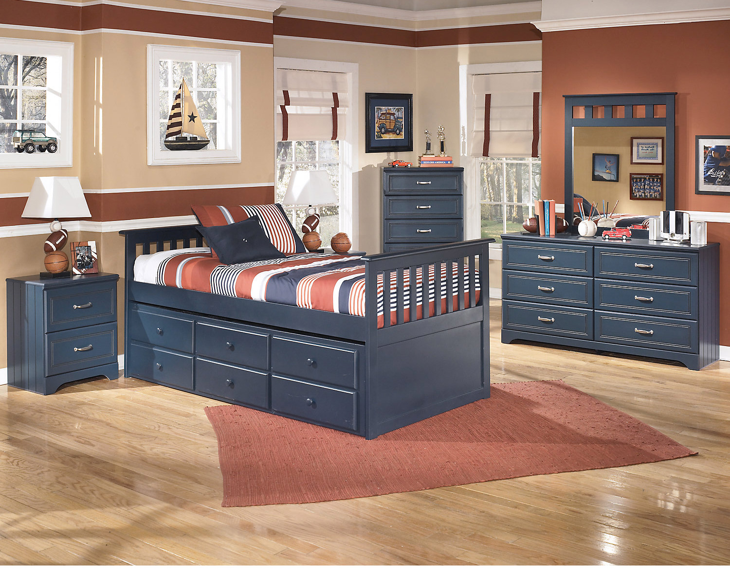 Navy Blue Furniture Nautical Themed Kids Room