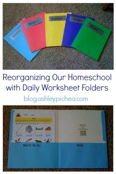 Homeschool Organization  Worksheet Folders