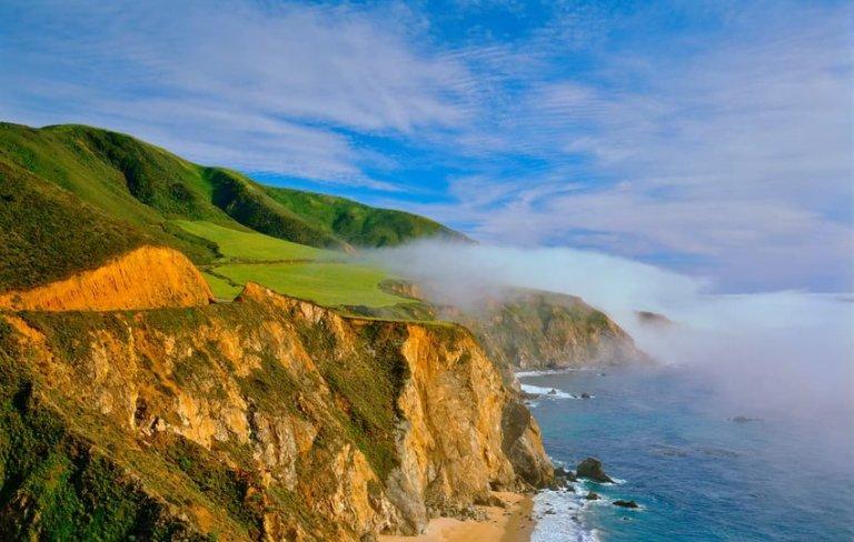 Sign In California coast shoreline with Big Sur rocky cliffs